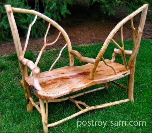 Скамейка деревянная двусторонняя