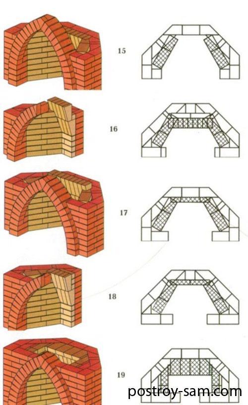 Порядовка углового камина 15-19 ряд