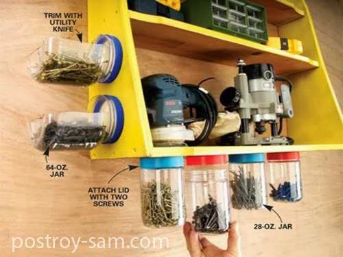 Хранение шурупов, саморезов, гвоздей и прочих мелочей