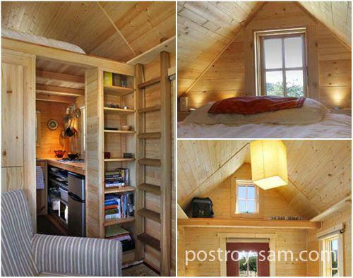 Спальна на мансарде маленького домика