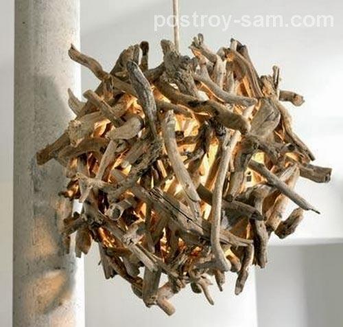 Светильник-шар из кусочков веток