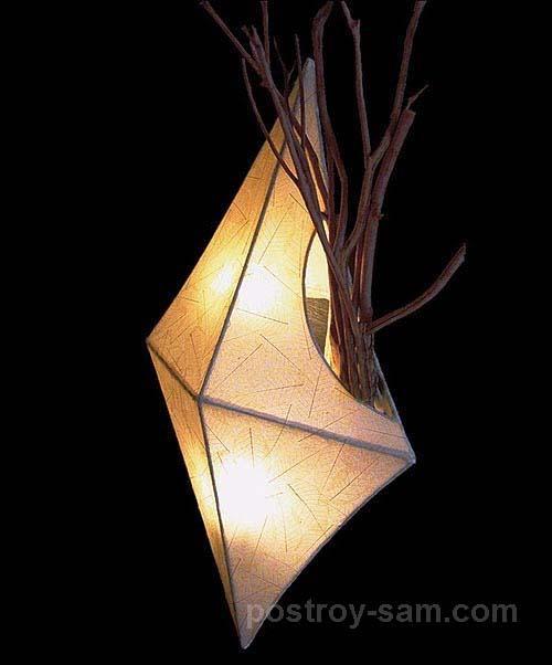Необычный оригинальный светильник из веток