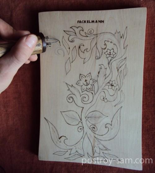 Обрисовка контура рисунка выжигателем