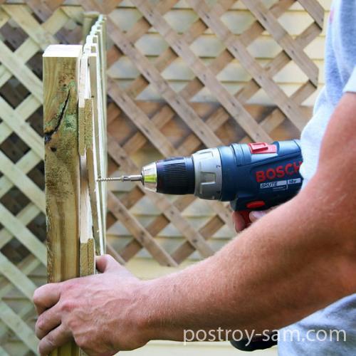 Установка деревянной решетки