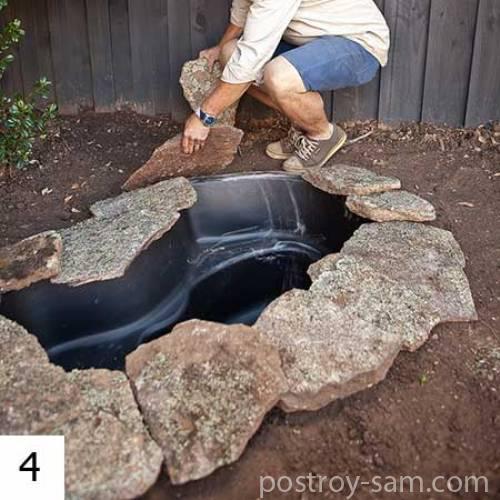 Отделка пруда камнем своими руками 91