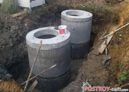 Септик из бетонных колец. Схема септика