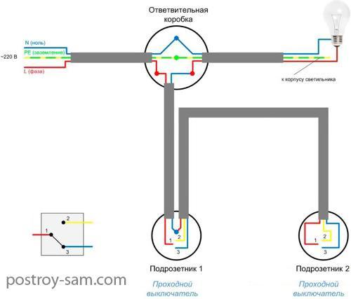 Полная схема подключения проходного выключателя