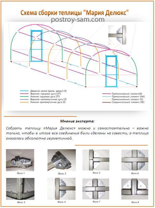 Схема сборки теплицы Мария Делюкс
