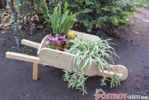 Деревянная тележка для цветов своими руками
