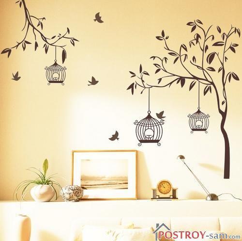 Трафарет дерева на стену