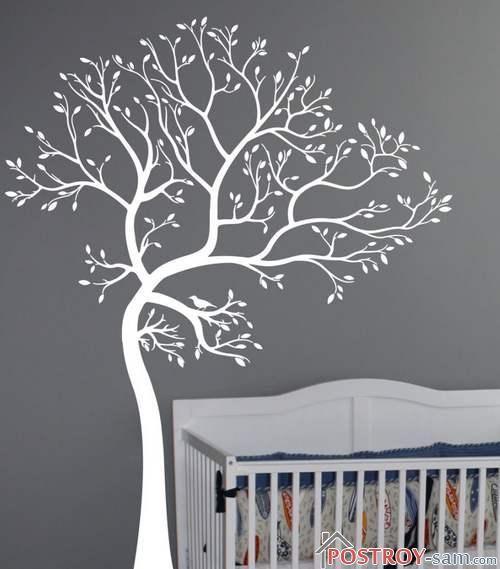Виниловые наклейки на стену в детской — дерево