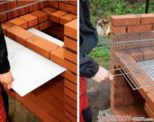 Установка поддона и решетки гриля