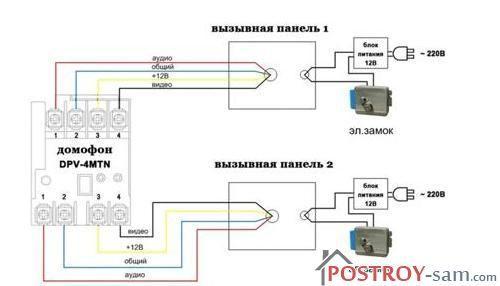 Схема подключения двухканального домофона