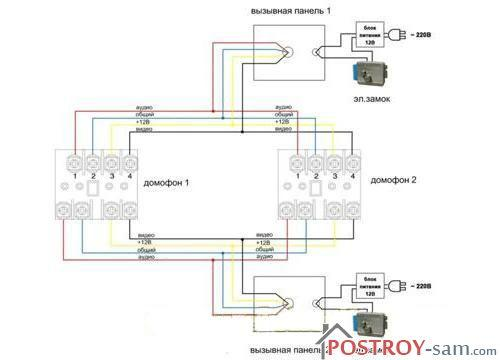 Схема подключения двух домофонов параллельно