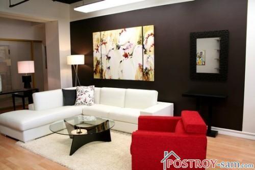 Интерьер гостиной с ковром фото