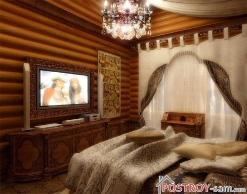 Красивая спальня с телевизором