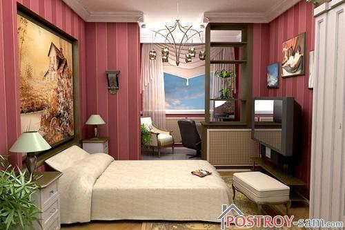 Красивая спальня с растениями