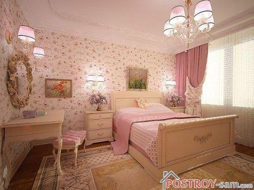 Красивая спальня в розовом цвете