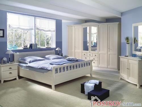 Красивая синяя спальня