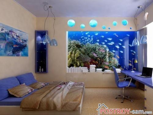Спальня с аквариумом