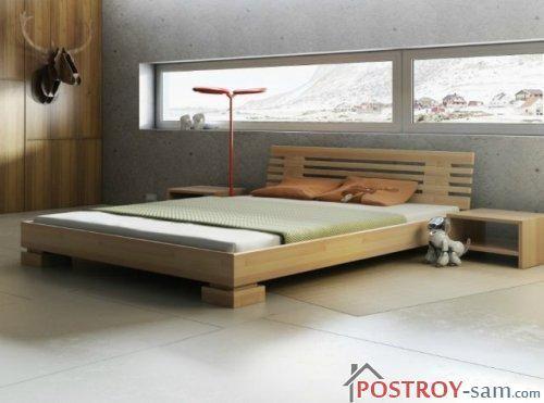 Современные двуспальные кровати из массива