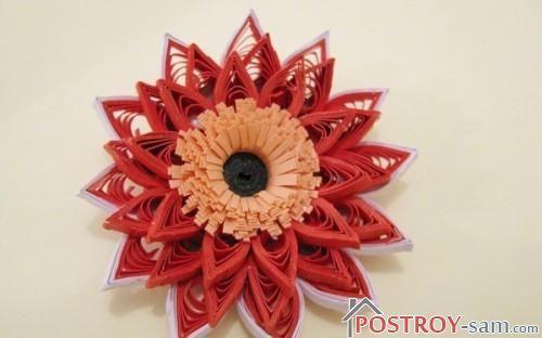 Вклейка сердцевины во внутрь цветка