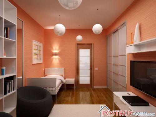 маленькая спальня с телевизором