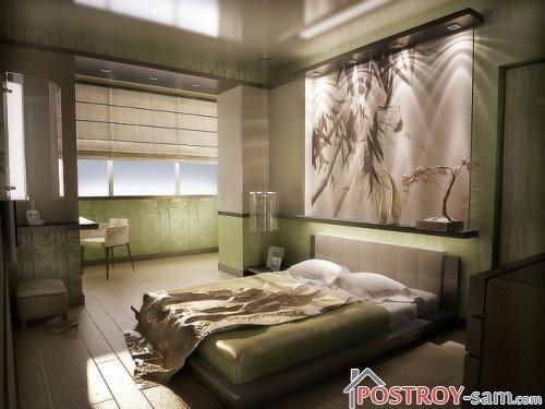 Маленькая спальня совмещенная с балконом