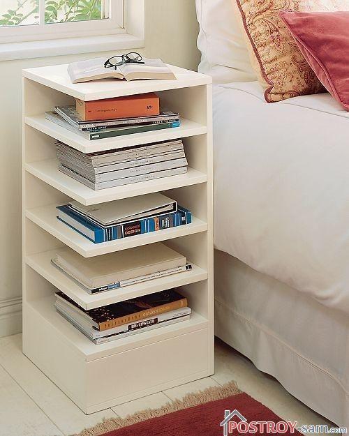 Прикроватная тумбочка с полочками для книг фото