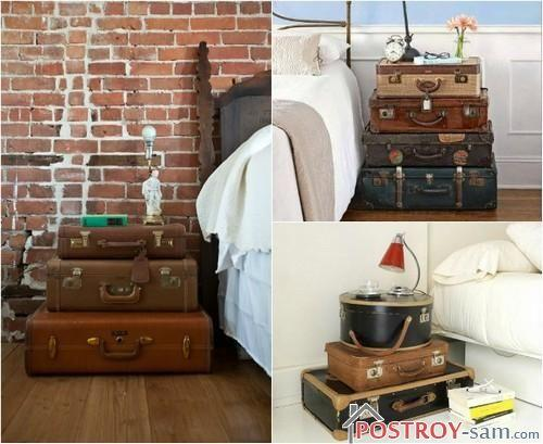 Прикроватные тумбочки из старых чемоданов