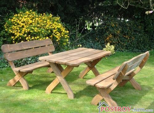 Комплект деревянной мебели для сада
