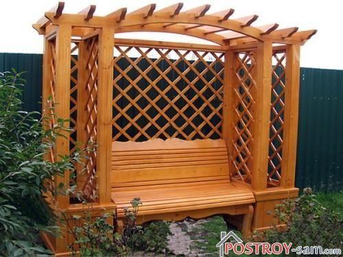 Скамейка с перголой