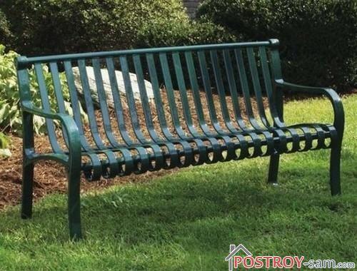 Скамейка из металла для дачи