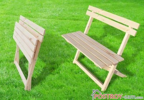 Складная деревянная скамейка. Фото