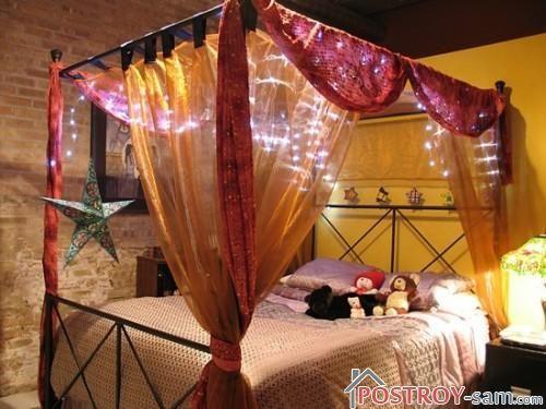 Балдахин из органзы на кровать для спальни