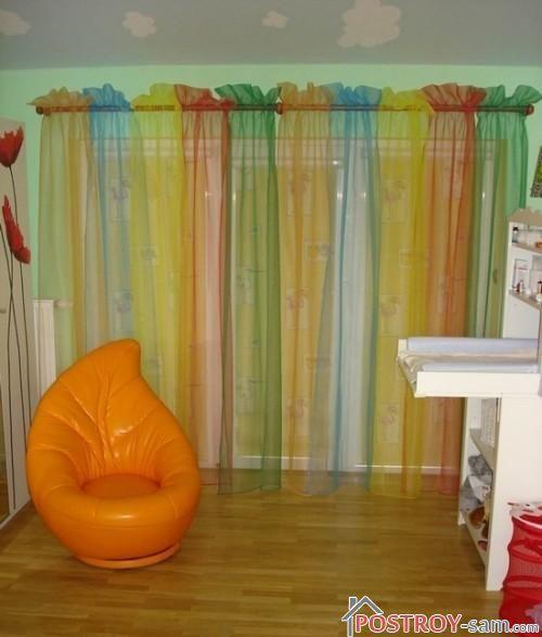 Разноцветные шторы из органзы фото