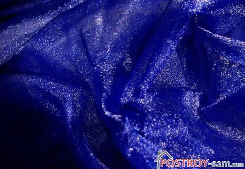 Синяя блестящая органза