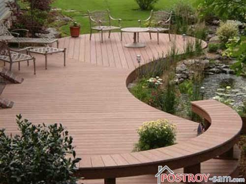 Красивая терраса на заднем дворе у водоема