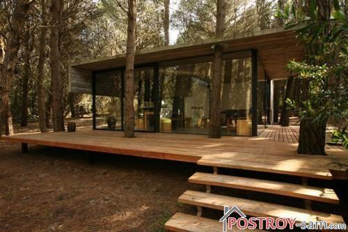 Дом в лесу с террасой