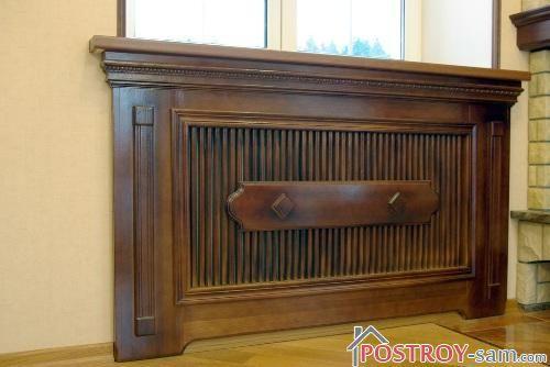 Красивый деревянный экран на батарею