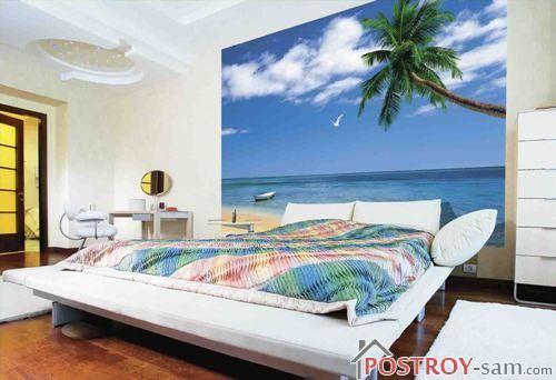 Фотообои в узкой спальне