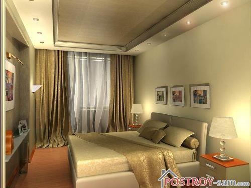 Освещение узкой спальни