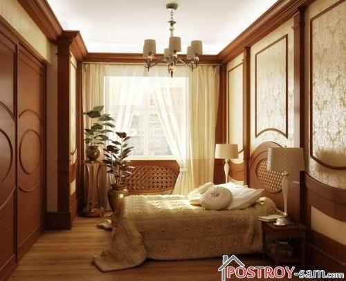 Планировка узкой спальни. Установка кровати