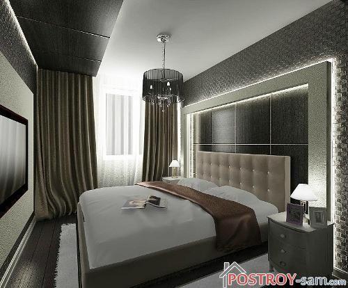 Стильный дизайн узкой спальни