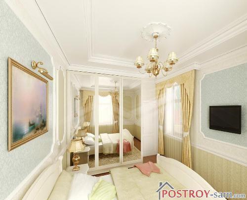 Узкая спальня с зеркалами