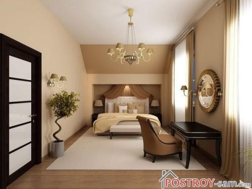 Классический интерьер узкой спальни фото