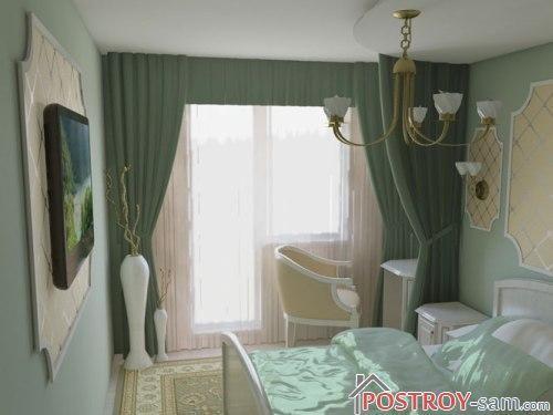 Интерьер узкой спальни в зеленых тонах фото