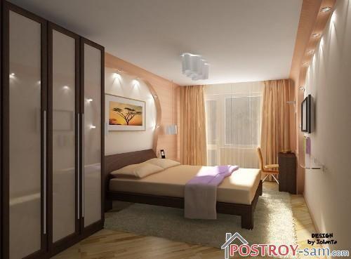 Спальня узкая фото