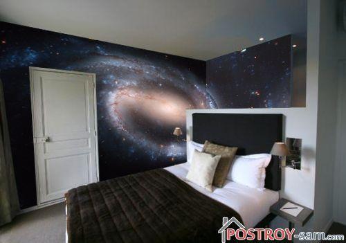 Молодежные фотообои в спальне