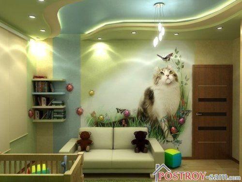 Изображение кошки на обоях
